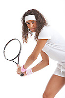 Portrait of young woman with tennis racket against white background