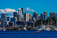 Downtown Seattle skyline with Lake Washington in the foreground, Seattle, Washington USA.