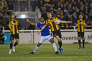 Oldham Athletic forward Chris O'Grady  (10) and Maidstone United defender George McLennan  (3) during the The FA Cup match between Maidstone United and Oldham Athletic at the Gallagher Stadium, Maidstone, United Kingdom on 1 December 2018. Photo by Martin Cole