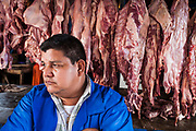 08 JANUARY 2007 - MANAGUA, NICARAGUA:  A meat vendor in Mercado Oriental, the main market that serves Managua, Nicaragua. The market encompasses dozens of square blocks and is the largest market in Central America.  Photo by Jack Kurtz