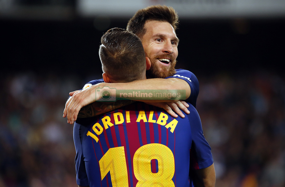 September 9, 2017 - Barcelona, Catalonia, Spain - Leo Messi and Jordi Alba celebration during La Liga match between F.C. Barcelona v RCD Espanyol, in Barcelona, on September 09, 2017. (Credit Image: © Joan Valls/NurPhoto via ZUMA Press)