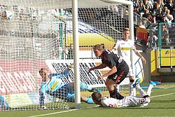 15.10.2011,  BorussiaPark, Mönchengladbach, GER, 1.FBL, Borussia Mönchengladbach vs Bayer 04 Leverkusen, im Bild.Stefan Reinartz (Leverkusen #3) (M) schiesst ein zum 0:1 gegen Marc-Andre ter Stegen (Torwart Moenchengladbach)..// during the 1.FBL, Borussia Mönchengladbach vs Bayer 04 Leverkusen on 2011/10/13, BorussiaPark, Mönchengladbach, Germany. EXPA Pictures © 2011, PhotoCredit: EXPA/ nph/  Mueller *** Local Caption ***       ****** out of GER / CRO  / BEL ******