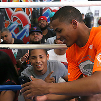 KISSIMMEE, FL - OCTOBER 05: Puerto Rican boxer Felix Verdejo is seen during his media workout event at the Kissimmee Boxing Gym on October 4, 2015 in Kissimmee, Florida. Verdejo is returning from a hand injury and announced his next fight will take place in Kissimmee on October 31. (Photo by Alex Menendez) *** Local Caption *** Felix Verdejo