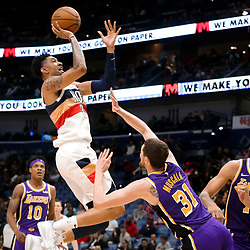 Mar 31, 2019; New Orleans, LA, USA; New Orleans Pelicans forward Christian Wood (35) shoots over Los Angeles Lakers forward Mike Muscala (31) during the second half at the Smoothie King Center. Mandatory Credit: Derick E. Hingle-USA TODAY Sports