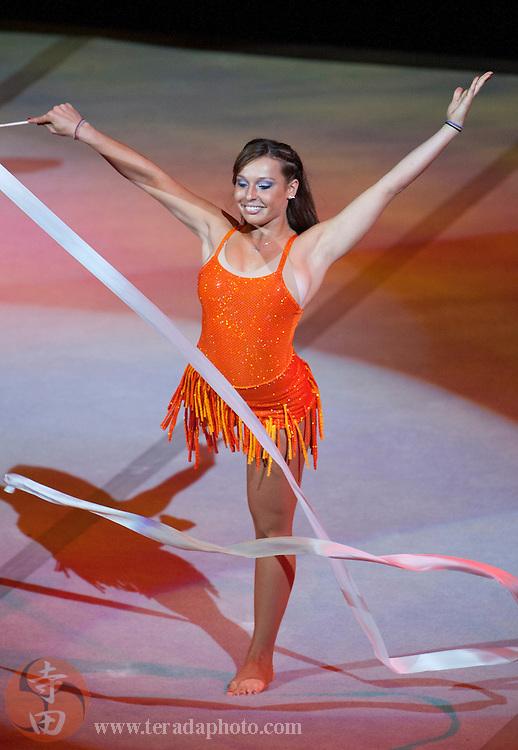 Sep 21, 2008; San Jose, CA, USA; Olga Karmansky performs during the 2008 Tour of Gymnastics Superstars post-Beijing Olympic tour at HP Pavilion in San Jose, CA. Mandatory Credit: Kyle Terada-Terada Photo