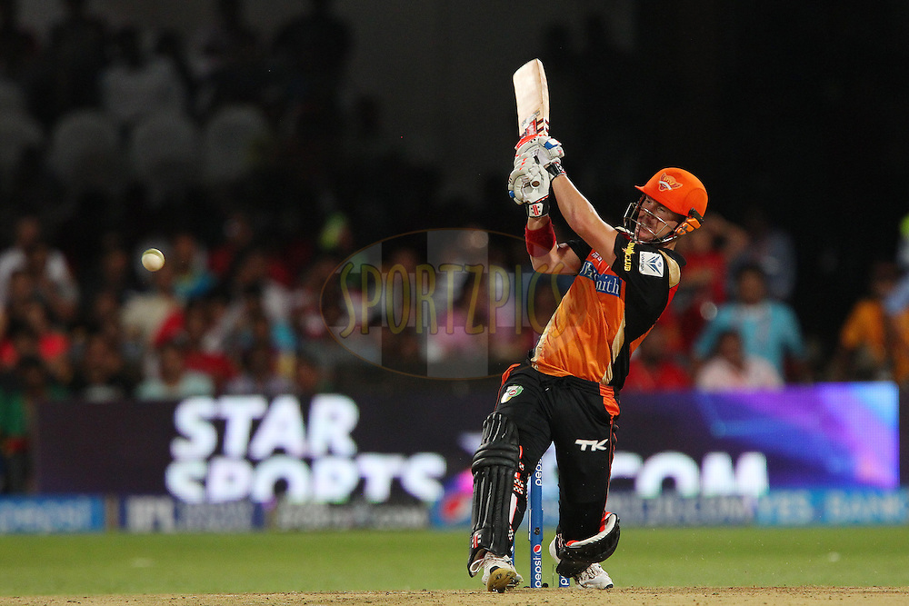 David Warner of the Sunrisers Hyderabad during match 24 of the Pepsi Indian Premier League Season 2014 between the Royal Challengers Bangalore and the Sunrisers Hyderabad held at the M. Chinnaswamy Stadium, Bangalore, India on the 4th May  2014<br /> <br /> Photo by Ron Gaunt / IPL / SPORTZPICS<br /> <br /> <br /> <br /> Image use subject to terms and conditions which can be found here:  http://sportzpics.photoshelter.com/gallery/Pepsi-IPL-Image-terms-and-conditions/G00004VW1IVJ.gB0/C0000TScjhBM6ikg