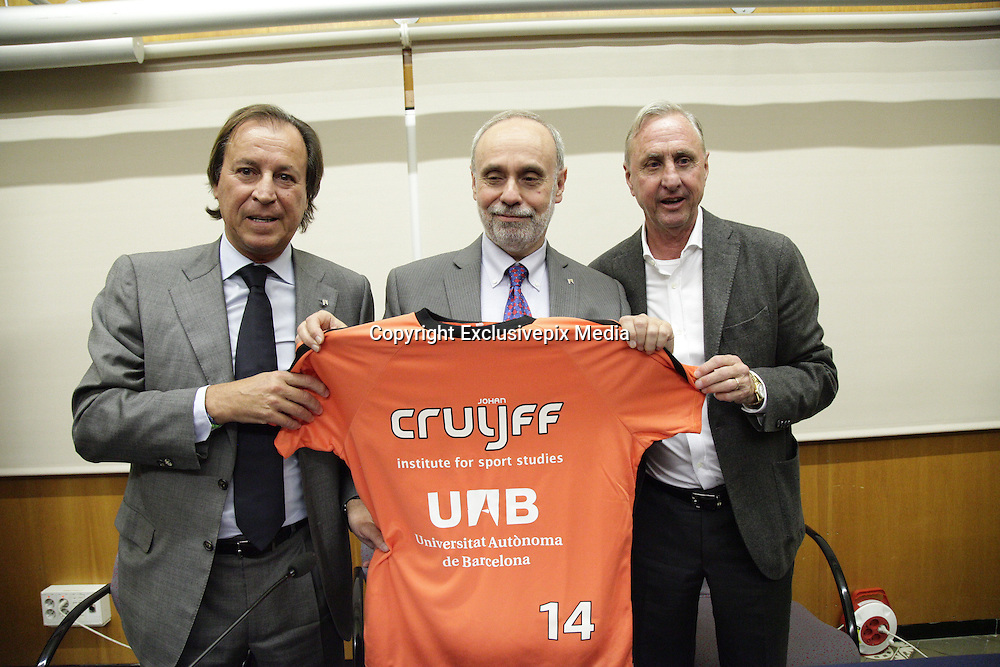 BARCELONA, SPAIN, 2015, NOVEMBER 19 <br /> <br /> Johan Cruyff has appeared for the first time in public, laid back, since last October suffering from lung cancer was known. The legendary former player and coach took part in the presentation of the agreement it has signed its Institute, the Johan Cruyff Institute, UAB (Autonomous University of Barcelona). It is a collaboration that will allow, among others, provide jointly a Masters in sports management, and the creation of a research chair to ensure the employment of athletes once you have finished your sporting stage. Cooperation is also open through the foundations of both institutions (Johan Cruyff Foundation and Fundaci&oacute; Aut&ograve;noma Solidaria) to help people with disabilities integrate into the field of sport<br /> &copy;Exclusivepix Media