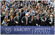 Atlanta -  September 2, 2009:  Emory University students and professors join New York Stock Exchange (NYSE ) Euronext CEO Duncan Niederaurer as he waves to cameras after ringing the closing bell at Emory University's Goizueta Business School on Wednesday, September 2, 2009.  This is the first time the New York Stock Exchange bell has been rung from a college or university campus in Georgia. ©2009 Johnny Crawford