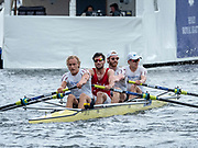 Henley Royal Regatta, 3-7 July 2019. Amsterdamsche Studenten Roeivereeniging Nereus and Delftsche Studenten Roeivereeniging Laga, A.S.R. Nereus and D.S.R. Laga, Netherlands, NED, as they cross the Finish Line, in their Semi-Final, of the Visitors' Challenge Cup, Royal Henley Peace Regatta Centenary, 1919-2019. Henley on Thames.<br /> <br /> <br /> <br /> [Mandatory Credit: Patrick WHITE/Intersport Images], 6, 06/07/2019,  14:47:07