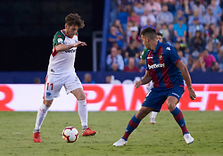 September 30, 2018 - Valencia, U.S. - VALENCIA, SPAIN - SEPTEMBER 30: Ibai G—mez, midfielder of Deportivo Alaves competes for the ball with Rober Pier, defender of Levante UD during the La Liga match between Levante UD and Deportivo Alaves at Estadio Ciutat de Valencia on September 30, 2018, in Valencia, Spain. (Photo by Carlos Sanchez Martinez/Icon Sportswire) (Credit Image: © Carlos Sanchez Martinez/Icon SMI via ZUMA Press)