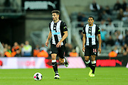 Fabian Schar (#5) of Newcastle United on the ball during the Premier League match between Newcastle United and Brighton and Hove Albion at St. James's Park, Newcastle, England on 21 September 2019.