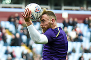 Derby County defender Richard Keogh (6) heads the ball during the EFL Sky Bet Championship match between Aston Villa and Derby County at Villa Park, Birmingham, England on 2 March 2019.