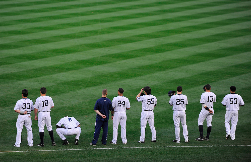 NEW YORK - OCTOBER 09: Members of the New York Yankees before Game Two of the ALDS against the Minnesota Twins during the 2009 MLB Playoffs at Yankee Stadium on October 9, 2009 in the Bronx borough of New York City.The Yankees defeated the Twins 4 to 3. (Photo by Rob Tringali/Sportschrome) *** Local Caption ***