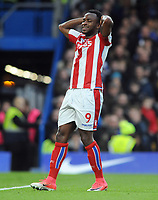 Football - 2017 / 2018 Premier League - Chelsea vs. Stoke City<br /> <br /> Saido Berahino of Stoke City sees his effort go wide, at Stamford Bridge.<br /> <br /> COLORSPORT/ANDREW COWIE