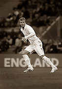 A 2009 sepia image of David Beckham of England wearing the new home kit based on the England team that played in the 1966 World Cup Finals