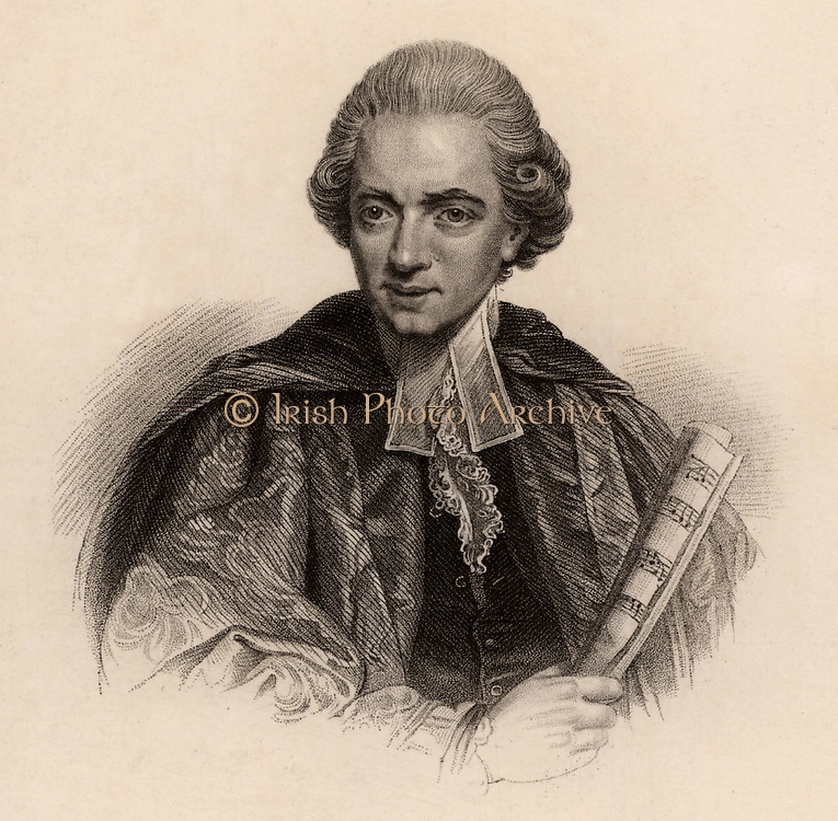 Charles Burney (1726-1814) English musicologist, born in Shrewsbury, Shropshire. Studied in London under Dr Arne. Travelled in Europe in 1770-1772, collecting material for his 'General History of Music' (1776-1789). Father of  the novelist and diarist Fanny (Frances) Burney, Madame D'Arblay.  Engraving from 'Diary and Letters of Madame D'Arblay' by Fanny Burney (London, 1843).