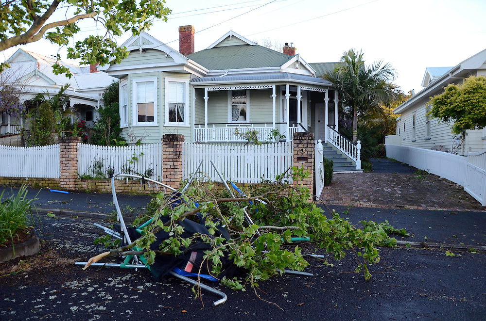 Damage after a tornado swept through Devonport, Auckland, New Zealand, Tuesday, October 08, 2013. Credit:SNPA / Gareth Hawken