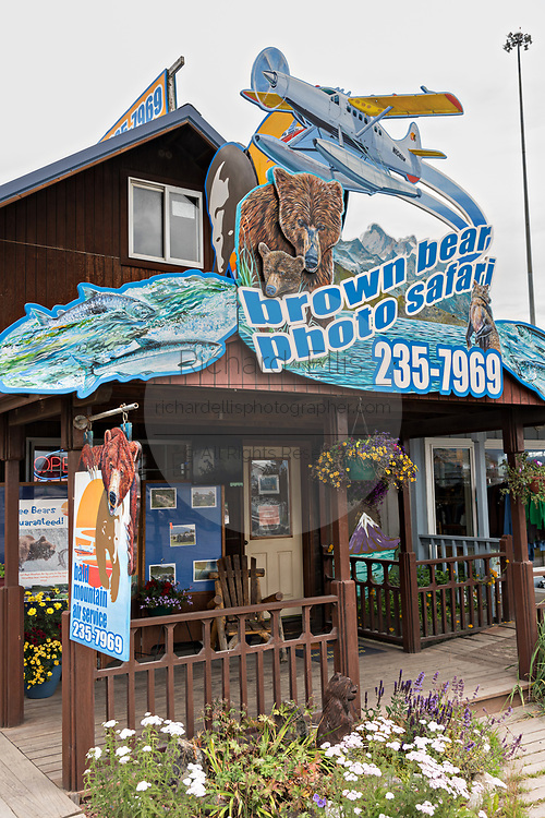Grizzly bear sightseeing and photo safari shops on Homer Spit on Kamishak Bay in Homer, Alaska.