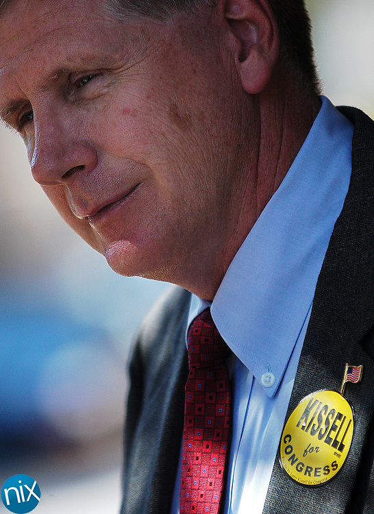 Democratic Congressional candidate Larry Kissell, who is running against incumbent Robin Hayes in North Carolina's 8th district, campaigns in Concord October 15, 2008. Kissell would win the Nov. 4 election.