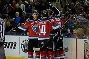 KELOWNA, CANADA - NOVEMBER 5:  Goal Celebrations at the Kelowna Rockets game on November 5, 2016 at Prospera Place in Kelowna, British Columbia, Canada.  (Photo By Cindy Rogers/Nyasa Photography,  *** Local Caption ***  Jake Kryski #14 of the Kelowna Rockets, Tomas Soustal #15 of the Kelowna Rockets, Kole Lind #16 of the Kelowna Rockets