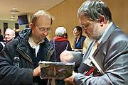 """Vienna, Hauptbuecherei. Presentation of the book """"Aufmarsch: Die rechte Gefahr aus Osteuropa"""" by  Gregor Mayer (r.)and Bernhard Odehnal."""