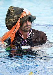 © licensed to London News Pictures. 21/05/2011. London, UK.  Louis Theroux  at The Park Club, Acton taking part in an underwater tea party to launch Marie Curie Cancer Care's nationwide Blooming Great Tea Party. See special instructions for magazine rates. Photo credit should read London News Pictures