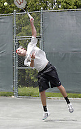 Ross Wilson, from Toledo serves in the second set of the finals in the 41st Weston Memorial Tennis Tournament at the Virginia Hollinger Memorial Tennis Club, Monday, May 26, 2008.  He went on to lose to Arthur Peller 6-4, 6-1.