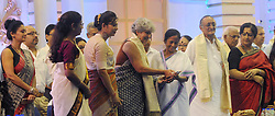 July 28, 2017 - Kolkata, West Bengal, India - West Bengal Chief Minister Mamata Banerjee along with UNICEF representative of India,  Dr Yasmin Ali Haque and others during program to mark Kanyashree Prakalpa recognition as winner United Nation public service award of  2017 on July 28, 2017, Kolkata. Kanyashree Prakalpa or project received highest award for public service from United Nation June 23, 2017...Kanyashree Prakalpa or project received highest award for public service from United Nation June 23, 2017. (Credit Image: © Saikat Paul/Pacific Press via ZUMA Wire)