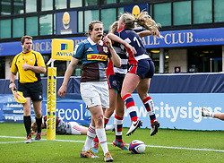 Chantelle Miell of Bristol Ladies scores a try - Rogan Thomson/JMP - 23/04/2017 - RUGBY UNION - Sixways Stadium - Worcester, England - Bristol Ladies Rugby v Aylesford Bulls - Women's Premiership Final.
