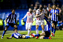 Billy Sharp of Sheffield United takes on Barry Bannan and Fernando Forestieri of Sheffield Wednesday - Mandatory by-line: Robbie Stephenson/JMP - 04/03/2019 - FOOTBALL - Hillsborough - Sheffield, England - Sheffield Wednesday v Sheffield United - Sky Bet Championship