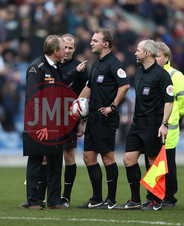 Derby County Manager, Steve McClaren argues with referee Robert Madley after the sending off of Derby County's Chris Martin - Photo mandatory by-line: Matt Bunn/JMP - Tel: Mobile: 07966 386802 22/02/2014 - SPORT - FOOTBALL - Turf Moor Stadium- Burnley - Burnley  v Derby County- Sky Bet Championship