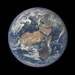 Jul 29, 2015 - Space - Africa is front and center in this image of Earth taken by a NASA camera on the Deep Space Climate Observatory (DSCOVR) satellite. The image, taken July 6th from a vantage point one million miles from Earth, was one of the first taken by NASA's Earth Polychromatic Imaging Camera (EPIC). Central Europe is toward the top of the image with the Sahara Desert to the south, showing the Nile River flowing to the Mediterranean Sea through Egypt. The photographic-quality color image was generated by combining three separate images of the entire Earth taken a few minutes apart. (Credit Image: © NASA/ZUMAPRESS.com)