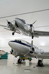Historic aircraft on display at Al Mahatta Museum, fthe preserved former former Sharjah airport in Sharjah United Arab Emirates