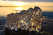 Lake Superior crystal ice and sunset