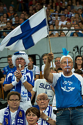 13.09.2014, Centennial Hall, Breslau, POL, FIVB WM, Finnland vs China, 2. Runde, Gruppe F, im Bild Finlandia kibice // Finland supporters during the FIVB Volleyball Men's World Championships 2nd Round Pool F Match beween Finland and China at the Centennial Hall in Breslau, Poland on 2014/09/13. EXPA Pictures © 2014, PhotoCredit: EXPA/ Newspix/ Sebastian Borowski<br /> <br /> *****ATTENTION - for AUT, SLO, CRO, SRB, BIH, MAZ, TUR, SUI, SWE only*****