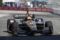 July 13, 2018 - Toronto, Ontario, Canada - JAMES HINCHCLIFFE (5) of Canada takes to the track to practice for the Honda Indy Toronto at Streets of Exhibition Place in Toronto, Ontario. (Credit Image: © Justin R. Noe Asp Inc/ASP via ZUMA Wire)