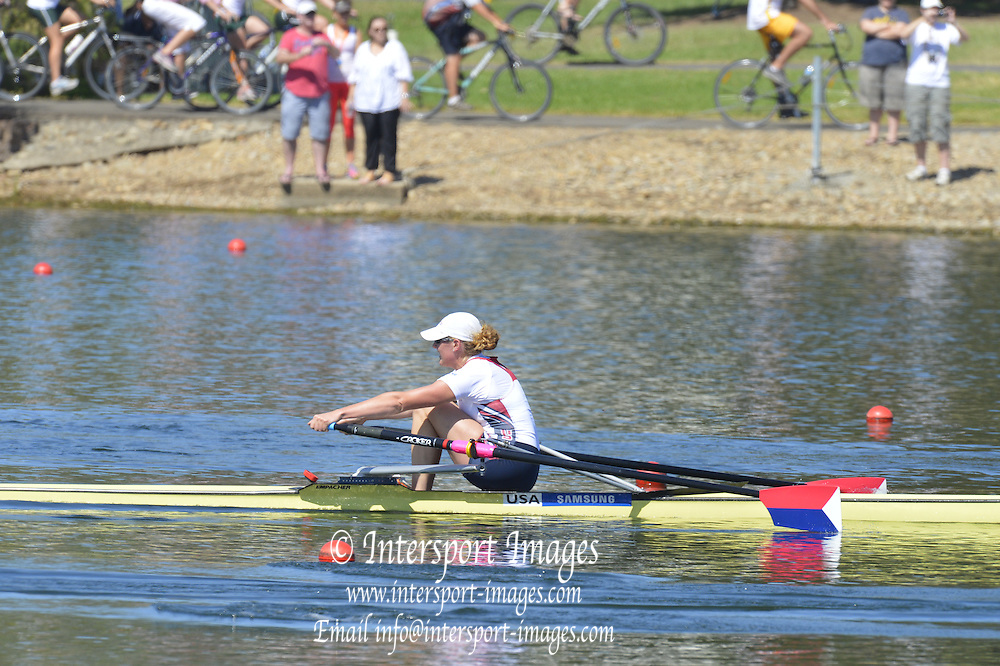 Sydney, Australia.  Women's Single Final, USA W1X Eleanor LOGAN.  World Cup I. and  Sydney International Rowing Regatta. Sydney International Rowing Centre, Penrith Lakes, NSW. Sunday   24/03/2013 [Mandatory Credit. Peter Spurrier/Intersport Images]..