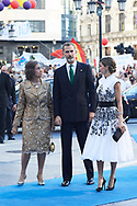 King Felipe VI of Spain, Queen Letizia of Spain, Queen Sofia of Spain arrived to the Campoamor Theater for the Princess of Asturias Award 2017 ceremony on October 20, 2017 in Oviedo, Spain