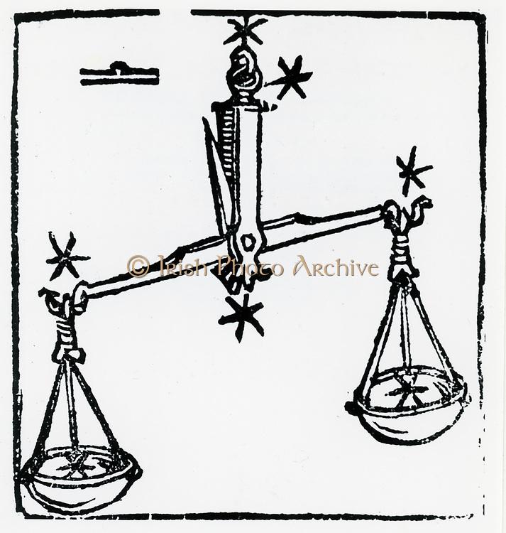 Zodiac sign of Libra. From 'Sphaera mundi', Strasburg, 1539