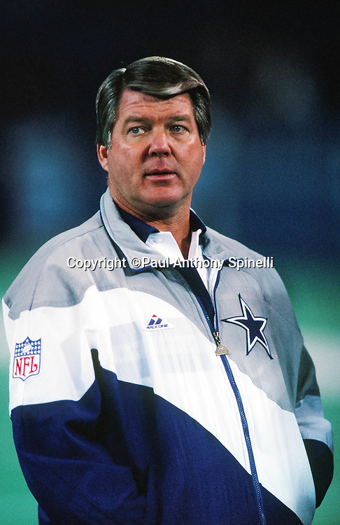 Dallas Cowboys head coach Jimmy Johnson looks on during the NFL NFC Wild Card playoff football game against the Chicago Bears on Dec. 29, 1991 in Chicago. The Cowboys won the game 17-13. (©Paul Anthony Spinelli)
