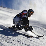 Lincoln Budge, Australia,  in action during the Men's Giant Slalom Sitting, Adaptive competition at Coronet Peak, during the Winter Games. Queenstown, New Zealand, 23rd August 2011. Photo Tim Clayton...