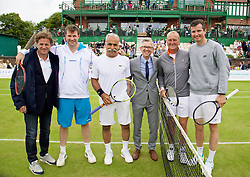 LIVERPOOL, ENGLAND - Thursday, June 18, 2015: Robin Tudor from Liverpool John Lennon Airport with Tournament Director Anders Borg, Barry Cowan (GBR), Mansour Bahrami (IRN), Peter McNamara (AUS) and Richard Krajicek (NED) during Day 2 of the Liverpool Hope University International Tennis Tournament at Liverpool Cricket Club. (Pic by David Rawcliffe/Propaganda)