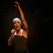 Mariza, ComIH, born Marisa dos Reis Nunes, is a popular Portuguese fado singer Live concert at Royal Festival Hall on 17 November 2018, London, UK