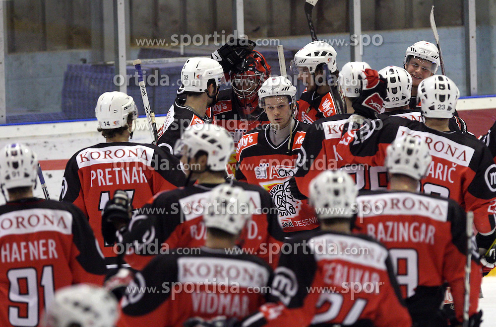 Goalkeeper of Jesenice Andrej Hocevar and other players after 2nd final match of Slovenian National Championships  between HK Acroni Jesenice and HDD Tilia Olimpija, on March 17, 2009, in Podmezaklja, Jesenice, Slovenia. Acroni Jesenice won after free shots 2:1 and are leading 2:0. They need to win 2-times more. (Photo by Vid Ponikvar / Sportida)