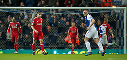 BLACKBURN, ENGLAND - Wednesday, January 5, 2011: Liverpool's captain Steven Gerrard MBE looks dejected after Blackburn Rovers score the opening goal during the Premiership match at Ewood Park. (Pic by: David Rawcliffe/Propaganda)