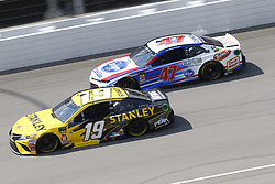 August 12, 2018 - Brooklyn, Michigan, United States of America - Daniel Suarez (19) and AJ Allmendinger (47) battle for position during the Consumers Energy 400 at Michigan International Speedway in Brooklyn, Michigan. (Credit Image: © Chris Owens Asp Inc/ASP via ZUMA Wire)
