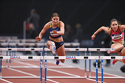 February 7, 2018 - Paris, Ile-de-France, France - From left to right : Hanna Plotitsyna of Ukraine, Laura Valette of France compete in 60m Hurdles during the Athletics Indoor Meeting of Paris 2018, at AccorHotels Arena (Bercy) in Paris, France on February 7, 2018. (Credit Image: © Michel Stoupak/NurPhoto via ZUMA Press)