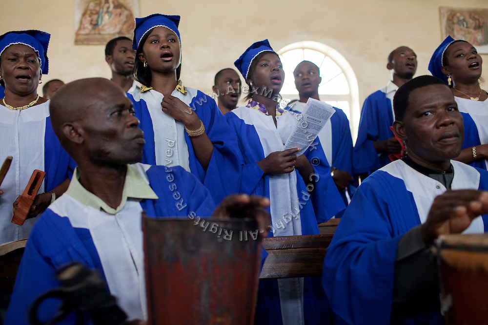 The choir is singing passionately during a Mass Service celebrated by the Archbishop of Jos, Ignatius Kaigama, 54, at the Christian Catholic Cathedral Of Our Lady Fatima in Jos, Plateau State, Nigeria.