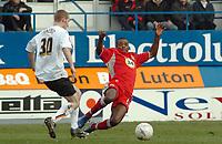 Photo: Kevin Poolman.<br />Luton Town v Blackburn Rovers. The FA Cup. 27/01/2007. Aaron Mokoena of Blackburn slides in on Drew Talbot of Luton
