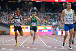 23/07/2017 : Paul Keogan (IRL), Mostafa Mohamed (EGY), Sofiane Hamdi (ALG), T37, Men's 400m, Final, at the 2017 World Para Athletics Championships, Olympic Stadium, London, United Kingdom